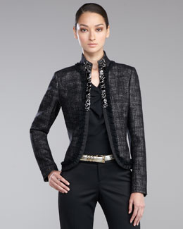 St. John Collection Jeweled Mandarin-Collar Jacket, Caviar