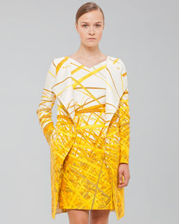 Akris Reed-Print Double-Face Coat, Pollen