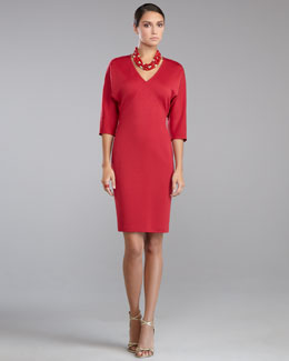 St. John Collection Milano Knit V-Neck Batwing-Sleeve Dress, Berry