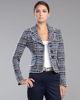 St. John Collection Sutton Tweed Jacket, Navy/Multicolor
