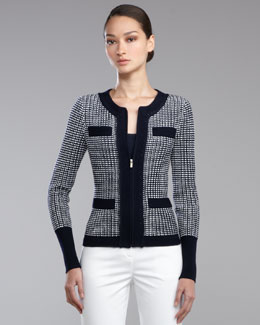 St. John Collection Tribeca Knit Zip-Front Jacket
