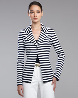 St. John Collection Striped Milano Knit Blazer, Navy/Bright White