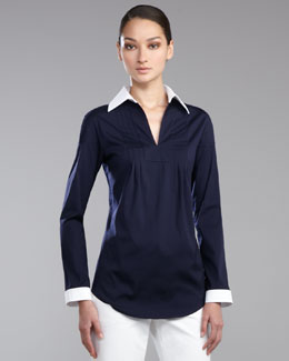 St. John Collection Stretch Poplin Tunic Blouse, Navy