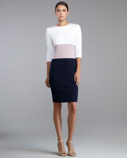 St. John Collection Milano Knit Colorblock Dress