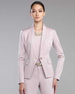 St. John Collection Venetian Wool Stand-Collar Jacket, Orchid