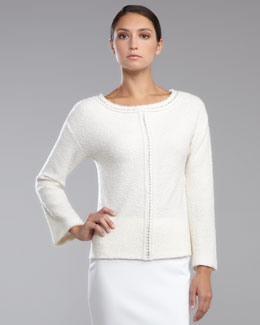 St. John Collection Shimmer Boucle Pullover, Cream