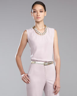 St. John Collection Luxe Crepe Sleeveless Shell, Orchid