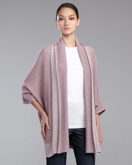 St. John Collection Textured Ribbon Batwing-Sleeve Cardigan