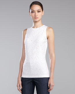 St. John Collection Sequined Jersey Tank, Orchid