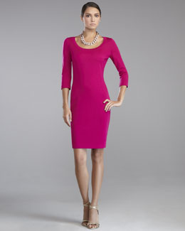 St. John Collection Milano Knit Scoop-Neck Dress, Cosmo