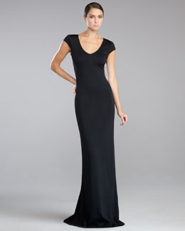 St. John Collection Shimmer Milano Knit Lace-Back Gown