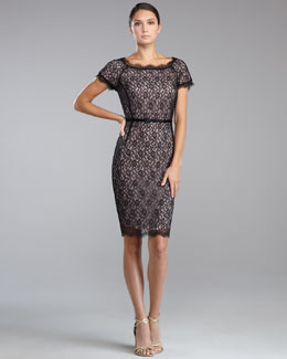 St. John Collection Floral Lace Bateau-Neck Dress