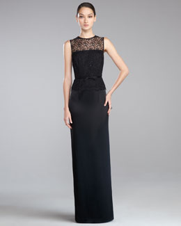 St. John Collection Lace Liquid Satin Gown, Caviar