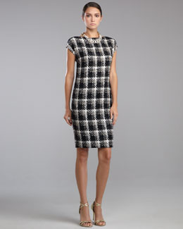 St. John Collection Macro Plaid Shift Dress