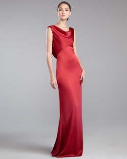 St. John Collection Liquid Satin Cowl-Neck Gown, Berry