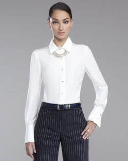St. John Collection Luxe Crepe Blouse, White