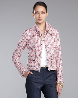St. John Collection Cropped Tweed Jacket, Cosmo