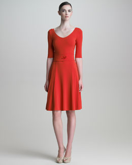 Armani Collezioni Scoop-Neck Half-Sleeve Dress