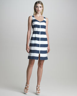 Armani Collezioni Zip-Front Nautical-Striped Dress