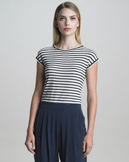 Armani Collezioni Cap-Sleeve Striped Knit Top, Navy