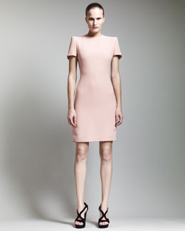 Alexander McQueen Short-Sleeve Crepe Dress, Blush