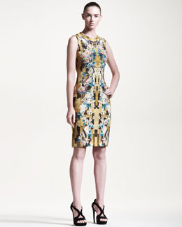 Alexander McQueen Sleeveless Printed Jersey Sheath