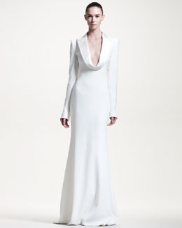 Alexander McQueen Gown with Satin Drape Collar