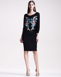 Alexander McQueen Embroidered Dolman Dress