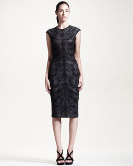 Alexander McQueen Cap-Sleeve Dragonfly-Knit Dress, Black