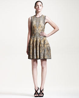 Alexander McQueen Leopard & Dragonfly Puckered Jacquard Dress