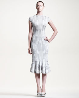 Alexander McQueen Geometric Intarsia-Knit Flounce Dress