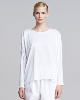 eskandar Long-Sleeve Scoop-Neck T-Shirt, White