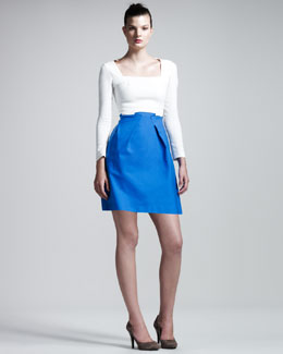 Roland Mouret Paynter Stretch-Crepe Combo Dress