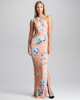 Emilio Pucci Butterfly-Print One-Shoulder Gown
