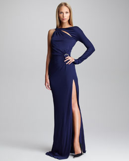 Emilio Pucci Gathered One-Sleeve Gown, Navy