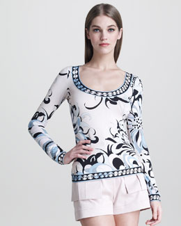 Emilio Pucci Border-Print Long-Sleeve Tee