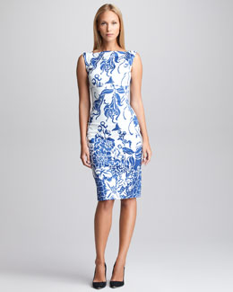 Emilio Pucci Printed Twill Sheath Dress, Blue/White