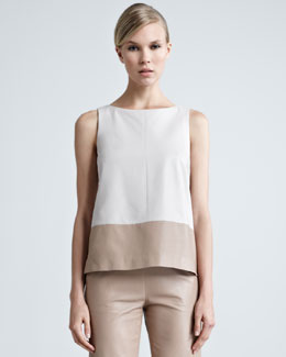 Paule Ka Colorblock Leather Top