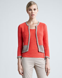 Paule Ka Two-Tone Crochet Cardigan