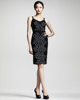 Dolce & Gabbana Lace-Applique Polka-Dot Sheath Dress