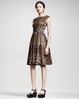 Dolce & Gabbana Full-Skirted Leopard-Print Dress
