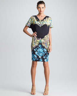 Etro Drape-Neck Short Sleeve Dress, Black/Multi