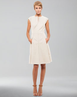 Akris punto Cotton-Stretch Dress, Cream