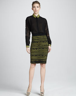 Versace Graphic Pencil Skirt
