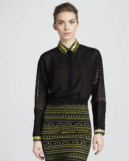 Versace Greek Key-Trim Blouse