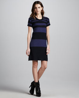 Burberry Brit Striped Short-Sleeve Knit Dress
