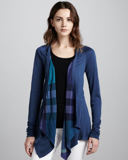 Burberry Brit Reversible Waterfall Cardigan, Pale Indigo