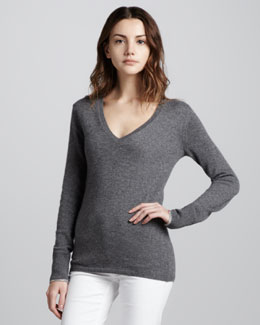 Burberry Brit Check-Cuff Cashmere Sweater