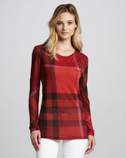 Burberry Brit Exploded-Check Long-Sleeve Tee, Orange Red