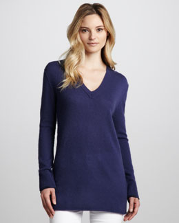 Burberry Brit Cashmere V-Neck Tunic, Iris Blue